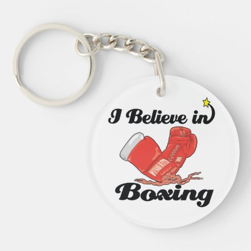 i believe in boxing round acrylic key chains