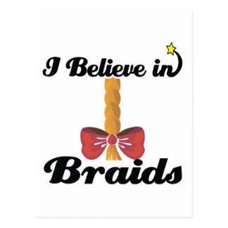 i believe in braids postcard