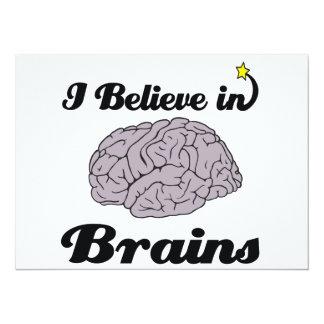 i believe in brains 5.5x7.5 paper invitation card