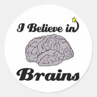 i believe in brains classic round sticker