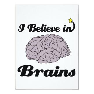 i believe in brains 6.5x8.75 paper invitation card