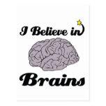 i believe in brains postcard
