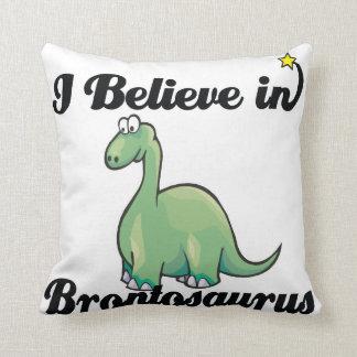 i believe in brontosaurus throw pillows