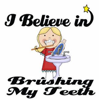 i believe in brushing my teeth girl photo sculpture
