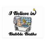 i believe in bubble baths postcard
