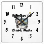 i believe in bubble baths wallclock