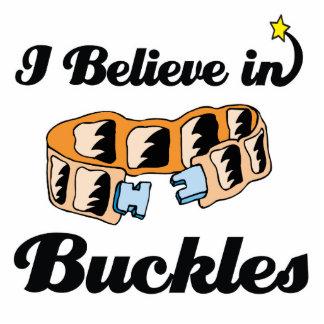 i believe in buckles standing photo sculpture