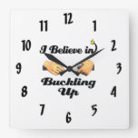 i believe in buckling up seat belt wall clock