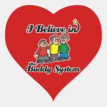 i believe in buddy system heart sticker