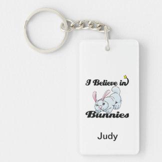 i believe in bunnies Double-Sided rectangular acrylic keychain