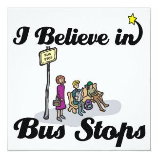 "i believe in bus stops 5.25"" square invitation card"