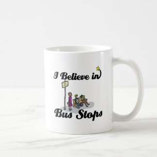 i believe in bus stops classic white coffee mug
