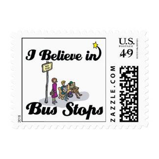 i believe in bus stops postage