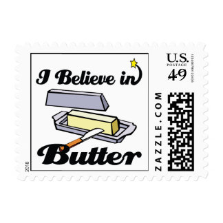 i believe in butter postage stamps