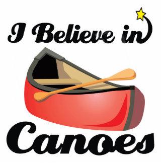 i believe in canoes standing photo sculpture