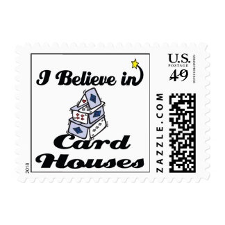 i believe in card houses postage stamp