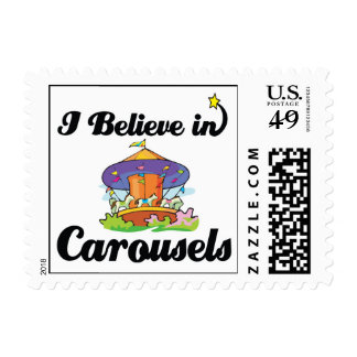 i believe in carousels postage stamp