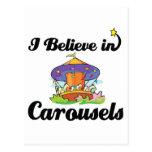 i believe in carousels postcard
