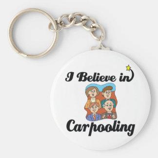 i believe in carpooling basic round button keychain