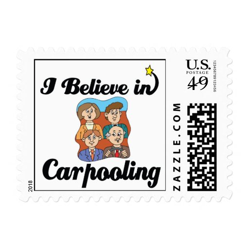 i believe in carpooling stamp