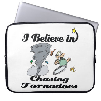 i believe in chasing tornadoes laptop sleeve