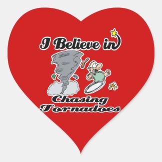 i believe in chasing tornadoes heart sticker