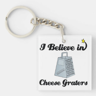 i believe in cheese graters Double-Sided square acrylic keychain
