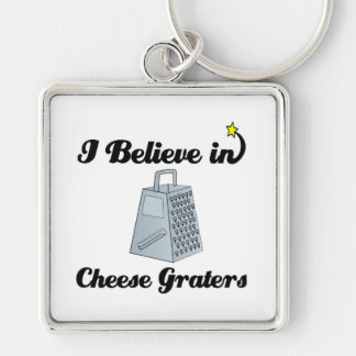 i believe in cheese graters Silver-Colored square keychain