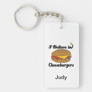 i believe in cheeseburgers keychain
