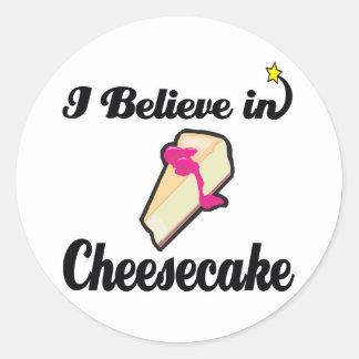 i believe in cheesecake round sticker