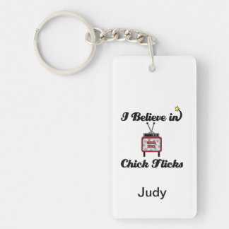 i believe in chick flicks Double-Sided rectangular acrylic keychain