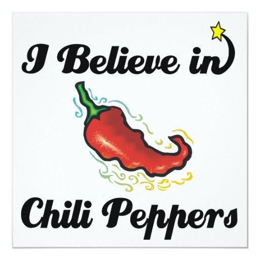 "i believe in chili peppers 5.25"" square invitation card"
