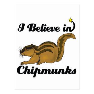 i believe in chipmunks postcard