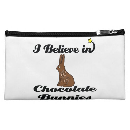 i believe in chocolate bunnies cosmetics bags