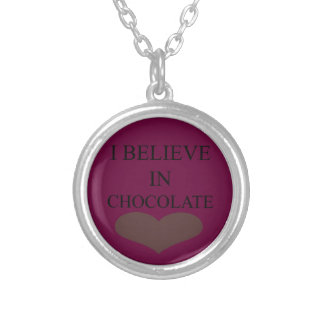 I BELIEVE IN CHOCOLATE ROUND PENDANT NECKLACE