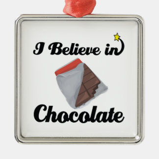 i believe in chocolate square metal christmas ornament