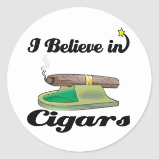 i believe in cigars classic round sticker