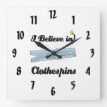 i believe in clothespins square wallclocks
