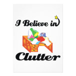 i believe in clutter custom invitations