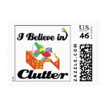 i believe in clutter postage stamps