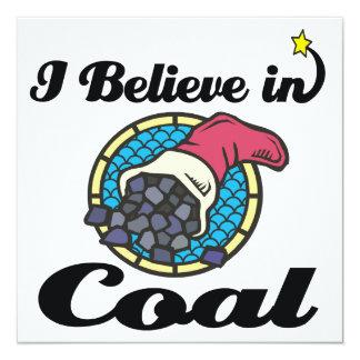 i believe in coal 5.25x5.25 square paper invitation card