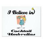 "i believe in cocktail umbrellas 4.25"" x 5.5"" invitation card"