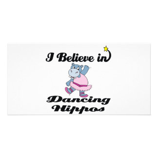 i believe in dancing hippos photo card