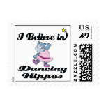 i believe in dancing hippos postage