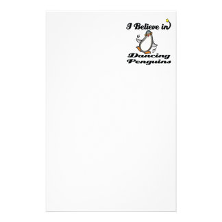 i believe in dancing penguins stationery paper