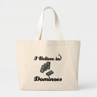 i believe in dominoes large tote bag
