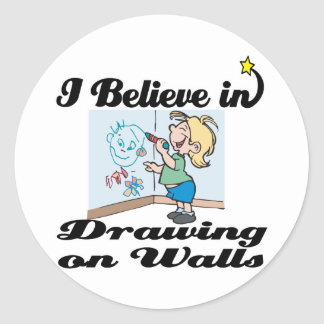 i believe in drawing on walls round sticker