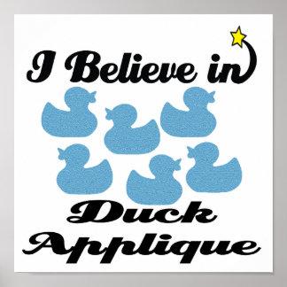 i believe in duck applique poster