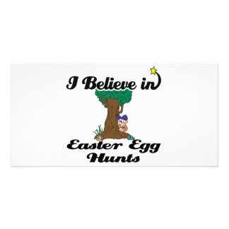 i believe in easter egg hunts personalized photo card