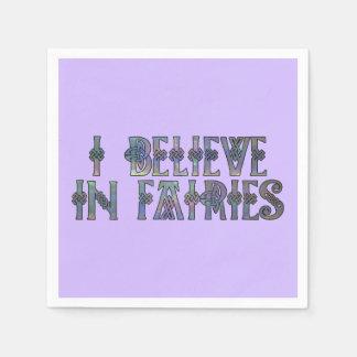 I Believe In Fairies Celtic Knot Design Napkin